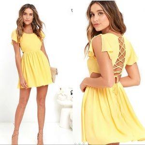 Lulus La Brea Yellow Backless Lace-Up Dress Size M